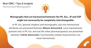 Monographs that are harmonised between the Ph. Eur., JP and USP might not necessarily be completely interchangeable. In Ph. Eur. general chapters and monographs, any non-harmonised attributes are presented between wblack diamondsw. Local requirements (present only in Ph. Eur. and not the other pharmacopoeias) are presented between ◊white diamonds◊. Functionality-related characteristics are never harmonised.