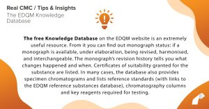 The free Knowledge Database on the EDQM website is an extremely useful resource. From it you can find out monograph status: if a monograph is available, under elaboration, being revised, harmonised, and interchangeable. The monograph's revision history tells you what changes happened and when. Certificates of suitability granted for the substance are listed. In many cases, the database also provides specimen chromatograms and lists reference standards (with links to the EDQM reference substances database), chromatography columns and key reagents required for testing.