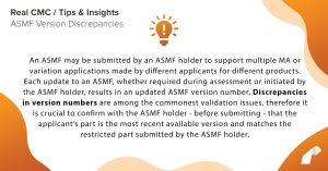 An ASMF may be submitted by an ASMF holder to support multiple MA or variation applications made by different applicants for different products. Each update to an ASMF, whether required during assessment or initiated by the ASMF holder, results in an updated ASMF version number. Discrepancies in version numbers are among the commonest validation issues, therefore it is crucial to confirm with the ASMF holder - before submitting - that the applicant's part is the most recent available version and matches the restricted part submitted by the ASMF holder.
